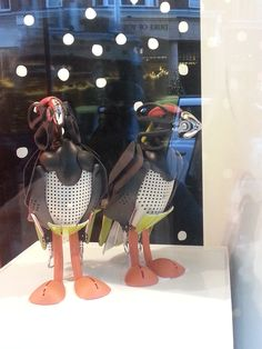 Puffin-like birds made from scissors, spoons and other kitchenalia Peter Jones shop window display December 13