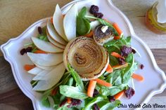 French Onion + Pear Salad - This Chick Eats Clean ~perfect starter salad for Thanksgiving!  Takes the least amount of time of all your dishes!