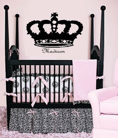 French Crown with Name Monogram Vinyl Wall by ahintofchicboutique, $30.00