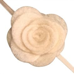 FUN 3-D Felt Rose Skinny Elastic Headband. Perfect for newborn and baby, but can be sized for older girls. Cream
