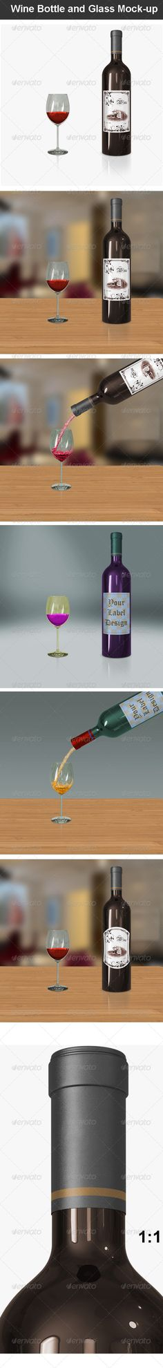 Wine Bottle and Glass Mockup — Photoshop PSD #clean #mock-up • Available here → https://graphicriver.net/item/wine-bottle-and-glass-mockup/7232479?ref=pxcr
