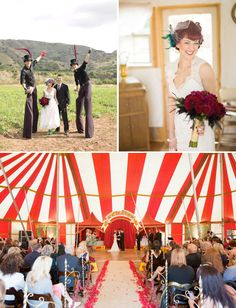 Circus Wedding with a big top tent and stilted fire breathing circus performers.