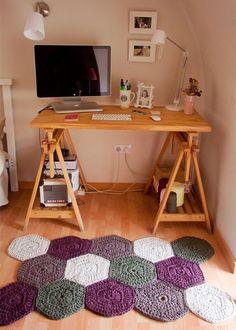 Crochet Carpet, Crochet Home, Crochet Crafts, Crochet Projects, Knit Crochet, Crochet Shawl, Free Crochet, Hexagon Crochet, Crochet Tutorials