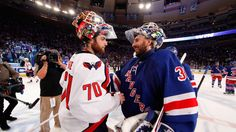 Lundqvist and Holtby for the Capitals shake hands after game 7 win for Rangers 2012