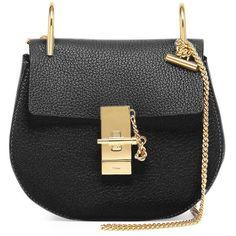 Chloe Drew Mini Lambskin Shoulder Bag ($1,650) ❤ liked on Polyvore featuring bags, handbags, shoulder bags, purses, clutches, black, mini purse, chain handle handbags, mini shoulder bag and handbag purse