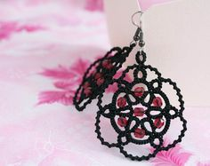 Hey, I found this really awesome Etsy listing at https://www.etsy.com/listing/191335758/tatted-earrings-poppy-black-earrings