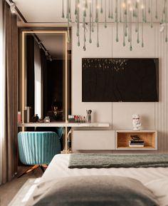 SOLO APARTMENT on Behance Room Design Bedroom, Bedroom Furniture Design, Bedroom Layouts, Home Room Design, Home Bedroom, Home Interior Design, Living Room Designs, Bedroom Decor, Bedroom Signs