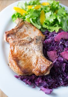We took a slow cooker pork chop recipe and converted it to a quick and easy stove top meal: http://www.recipe.com/blogs/cooking/pork-chop-recipe-with-red-cabbage/?socsrc=recpinn010814porkchopwithredcabbage