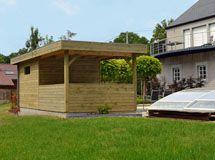Pool House Toit Plat Avec Terrasse Couverte Concept Abri Abri De Jardin Moderne Abri De Jardin Jardin Moderne