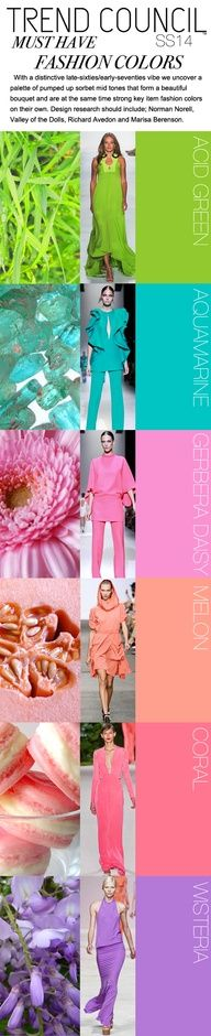 Trend Councils SS 2014 COLOR TRENDS FORECAST.  Because I care about these sorts of things.