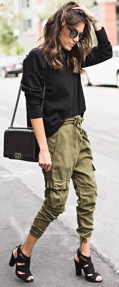stylish casual outfit black top + bag + pants