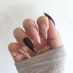 My new nails! 🍂🍁🍂 French press, Night euphoria & Creamy muffin via ✨ … - acrylic nails Acrylic Nails Stiletto, Pointy Nails, Long Acrylic Nails, Coffin Nails, Simple Stiletto Nails, Dream Nails, Love Nails, My Nails, Black And Nude Nails