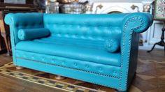 Gail Steffey, IGMA artisan - turquoise leather chesterfield sofa