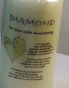 diamond anniversary party favors | ... browse more items in candles personalised diamond anniversary candle