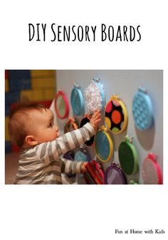 Sewing Ideas For Baby DIY Sensory Boards for Babies and Toddlers from Fun at Home with Kids - DIY Sensory Boards for Babies and Toddlers Baby Sensory Board, Sensory Wall, Sensory Boards, Sensory Activities, Infant Activities, Activities For Kids, Infant Sensory, Sensory Rooms, Sensory For Babies