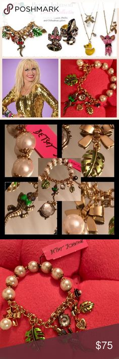 🆕🐊BetseyJohnson,CritterCollection🐊CharmBracelet 🆕🐊Betsey Johnson  Alligator Critter Collection🐊Charm Bracelet🐊Betsey Johnson🐊 Statement Charm Bracelet🐊The Critter Collection🐊features an antique gold tone alligator that measures 2in blue bow/sapphire stone eyes🐊Gold-hued chains,🐊blkenamel flower,chain w/BJ🐊enamel leaf,two bows,one w/leaf,w/faux pearl,rhinestone🐊all elegantly dangle from crystal cup accents beads🐊Crafted faux pearls,7-in 1/2stretch&chainCollected not…