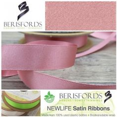 Made from Recycled Plastic bottles and to the same high quality of the world renowned Berisfords 3501 Satin ribbon. Available in 5 widths & 16 colours with more coming soon. World Crafts, How To Make Ribbon, Recycle Plastic Bottles, Pink Satin, Ribbons, The 100, Recycling, Environment, Colours