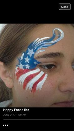 Red, white & blue Blue Face Paint, 4th Of July Makeup, Eye Makeup, Hair Makeup, Air Brush Painting, Face Painting Designs, Halloween Crafts For Kids, Natural Make Up, Beauty Make Up