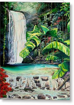A beautiful waterfall in the Northern Range mountains of the island of Trinidad Waterfall Drawing, Waterfall Paintings, Rain Painting, Autumn Painting, Landscape Art, Landscape Paintings, Caribbean Art, Tropical Art, Architecture Drawings