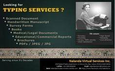 Nalanda Virtual Services Inc. is India's Best professional typing services company, having its presence nationally & globally from last 3½ decades. Our team can type data from all online-offline data sources which includes scanned documents, handwritten manuscripts, survey forms, printed papers, minutes, books, scripts, medical/legal documents, newspapers, magazines, education & commercial project reports, PDFs, JPEG, JPG, brochures, online documents, etc less less http://lnkd.in/Hx_ubj