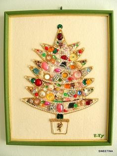 What a neat idea for Christmas Crafting!  Framed art made from shiny, sparkly baubles and such!
