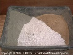 Homemade furnace refractories: The refractory mix is composed of Portland cement (1.5 parts), silica sand (2 parts), perlite (1.5 parts) and fireclay (2 parts). The first three components are mixed together thoroughly.