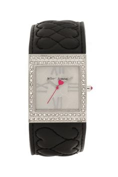 Women's Crystal Embellished Quilted Genuine Leather Cuff Watch by Betsey Johnson Jewelry & Watches on @HauteLook
