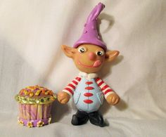 NIGHTMARE BEFORE CHRISTMAS ELF CUPCAKE MINI polymer clay unique ooak art doll US #Handmade