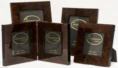Four New Luxury Marlborough Collection Polished Burl Wood Picture Photo Frames | eBay
