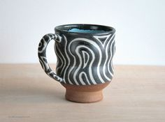 Pottery Mug, Handmade Coffee Cup, Charcoal White Glaze