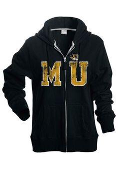ba66fad63e1510 Missouri Tigers Womens Black Heartbreaker Full Zip Hooded Sweatshirt (front)