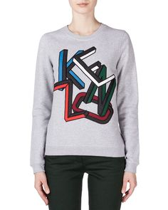 Embroidered Kenzo Sweatshirt, Pale Gray, Pale Grey