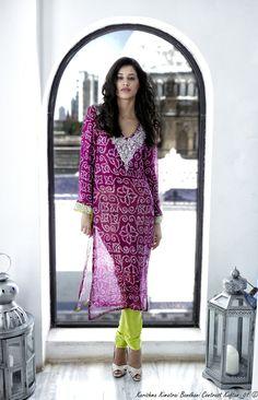 Bandhani Contrast Kaftan.  loving the purple and lime green combo