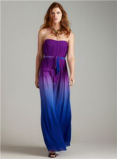 Ombre Strapless Maxi Dress With Tie. $101