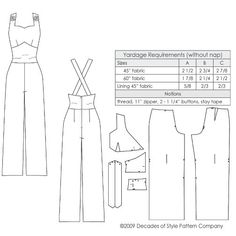 Sewing Vintage illustration for Vintage sewing pattern for Overalls with sweetheart neckline from Decades of Style - Dress Sewing Patterns, Vintage Sewing Patterns, Clothing Patterns, Shirt Patterns, Skirt Sewing, Pattern Sewing, Coat Patterns, Pattern Drafting, Sewing Hacks