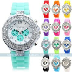 Fashion Geneva Bling Crystal Ladies Women Girl Jelly Silicone Quartz Wrist Watch Fathers Day Presents, Love To Shop, Jewelry Accessories, Men's Jewelry, Passion For Fashion, Bracelet Watch, Jewelery, Jewelry Watches, Quartz
