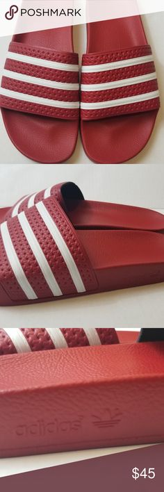official photos 6bbea e5026 Adidas Adilette Slides Red Mens Sz 12 (Womens 13) BRAND NEW (without box