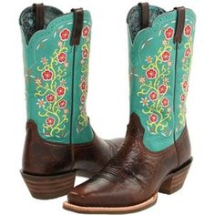 Ariat Uptown Brown Teal Green Leather Floral Western Cowboy Boots Womens 7 5 B | eBay