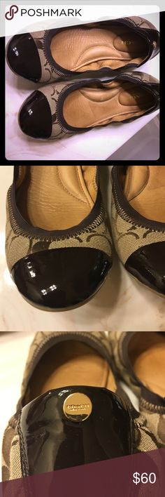 COACH authentic ballet flats COACH signature print ballet flats in like new condition.  Brown patent toe caps. Coach Shoes Flats & Loafers
