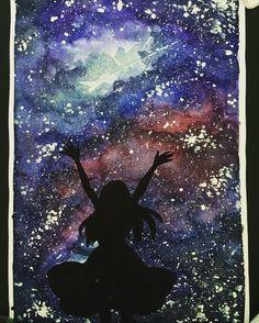 A Wish Upon A Star #anime #manga #galaxy #watercolor #stars #draw #drawing