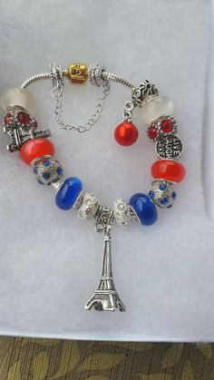 Paris bracelet with Flag colors Check out this item in my Etsy shop https://www.etsy.com/listing/468127328/paris-bracelet-with-flag-colors