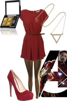 A fashion look from May 2012 featuring burgundy dresses, elastic waistband pants and prada shoes. Browse and shop related looks. Avengers Costumes, Superhero Fashion, Nerd Chic, Character Inspired Outfits, Dc Movies, Burgundy Dress, Everyday Outfits, Iron Man, Style Me