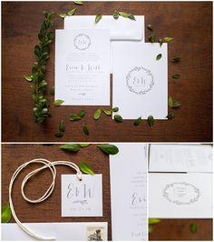 Laurel Wreath Monogram Wedding Invitation // shopsaltandpaperie.com/pages/bridal-collection