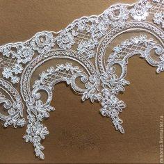 Купить Кружево с пайетками, отделка для свадебного платья, фаты.2 - ткань, кружево, сетка, разноцветный