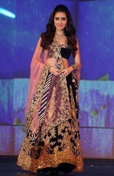 Shraddha Kapoor Velvet Zari Work Blue Semi Stitched Lehenga - 1424