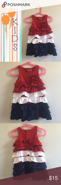 Red White & Blue Dress Perfect for the 4th of July or any day!! Cute dress for a toddler girl. Used in great condition. My munchkins got lots of compliments with this dress💖 Children's Place Dresses