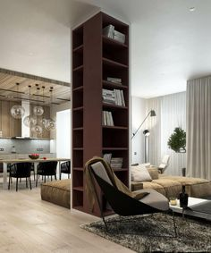 Library column in a great room in an apartment in Minsk, Ukraine designed by Nikita Ryazho Office Interior Design, Office Interiors, Modern Interior, Interior Decorating, Columns Decor, Interior Columns, Granito Dallas, Living Room Partition, Pillar Design