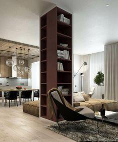 Un apartamento en concepto abierto y moderno
