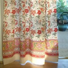 Tropical Garden ~ Country Cottage Colorful Tab Top Curtain Panel 46x84