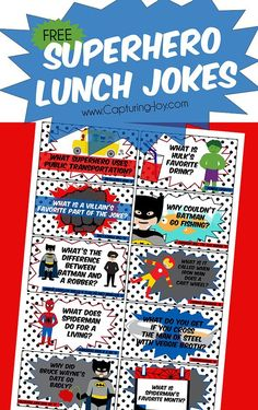 Lunch Jokes Free printable Superhero Lunchbox Jokes for kids on Capturing-!Free printable Superhero Lunchbox Jokes for kids on Capturing-! School Days, Back To School, School Lunches, Kid Lunches, School Stuff, Kid Snacks, School Notes, Lunch Snacks, Superhero Classroom